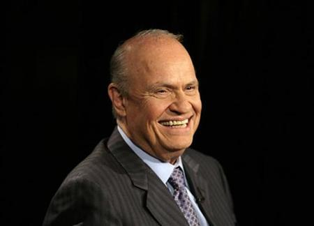 File photo shows former Republican senator from Tennessee Fred Thompson on Fox News channel's Hannity and Colmes TV show in Washington June 5, 2007. A recent story in London's Sunday Times newspaper said that Thompson's ex-wife and former girlfriends are endorsing the Law and Order star. REUTERS/Yuri Gripas