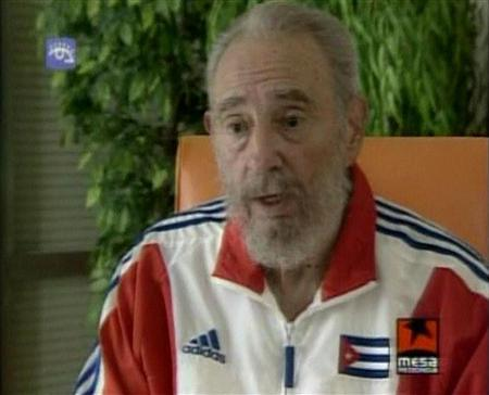Cuba's leader Fidel Castro speaks during an interview on state television in Havana June 5, 2007. U.S. President George W. Bush made plain his feelings about Fidel Castro on Thursday -- wishing the Cuban leader would disappear. REUTERS/Government TV/Handout