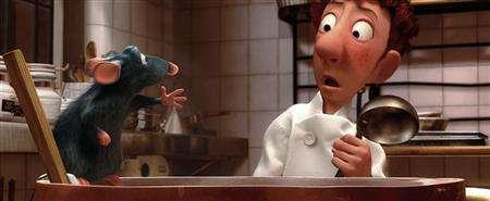 Characters Remy (L) and Linguini are shown in a scene from the new animated film 'Ratatouille,' about a rat who befriends a chef in Paris, in this undated handout photograph. Shares of Walt Disney Co. closed up 1.1 percent on Monday, even though some Wall Street observers said the $47 million opening-weekend haul for ''Ratatouille'' fell below their expectations and might be the latest sign that animated fare is past its prime. REUTERS/Disney Enterprises, Inc. and Pixar Animation Studios/Handout
