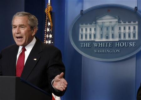 U.S. President George W. Bush delivers remarks to officially open the remodeled Brady Press Briefing room at the White House in Washington, July 11, 2007. REUTERS/Jason Reed
