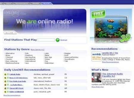 A screenshot of internet radio station Live365.com, taken on July 12, 2007. A federal appeals court has denied a petition by U.S. Internet radio stations seeking to delay a royalty rate hike due July 15 they say could kill the fledgling industry. REUTERS/www.live365.com