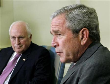 In this file photo, U.S. President George W. Bush (R) and Vice President Dick Cheney sit in the Oval Office at the White House in Washington, June 14, 2007. Bush temporarily handed his powers to Vice President Dick Cheney on Saturday morning while he was sedated for a routine colon cancer test at the presidential retreat at Camp David, Md., the White House said. REUTERS/Jim Young