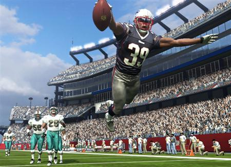 A screenshot from the game ''Madden 07'' in an image courtesy of Electronic Arts. Microsoft said on Wednesday it will pipe advertisements into a slate of popular sports video games from Electronic Arts, including its best-selling ''Madden'' football franchise. REUTERS/Handout