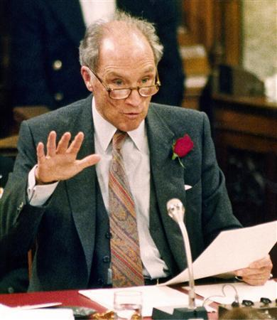 Former Canadian Prime Minister Pierre Trudeau is seen here testifying before a Senate Committee where he voiced his opposition to the Meech Lake Accord on March 30, 1988 file photo. Trudeau topped an Internet poll as the worst Canadian, a history magazine revealed on Monday. REUTERS/Peter Jones/Files