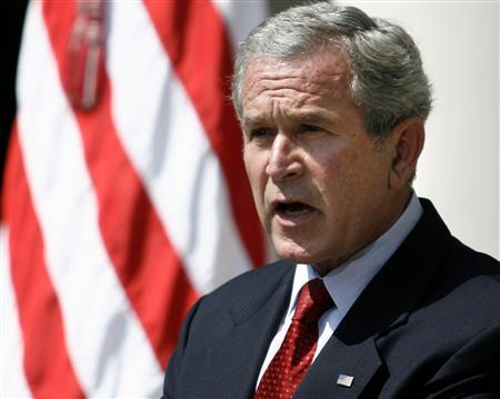 President Bush speaks to the news media in the Rose Garden of the White House, August 2, 2007. Bush pushed for final congressional approval on Saturday of a bill to revamp his spying program that would temporarily grant the government expanded power to conduct electronic surveillance without a court order. REUTERS/Jason Reed