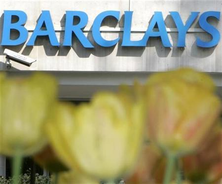 The logo of Barclays bank is seen at a branch in central London April 20, 2007. Barclays formally launched its 65 billion euro ($89 billion) bid for ABN AMRO <AAH.AS> on Monday as it attempts to beat a Royal Bank of Scotland-led consortium in the biggest ever bank takeover. REUTERS/Toby Melville