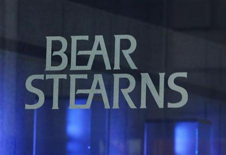 The Bear Stearns name is seen outside their headquarters in New York July 18, 2007. The market's response to a recent change in Bear Stearns' credit rating outlook by Standard & Poor's has been a ''vast overreaction,'' an S&P analyst said on Monday. REUTERS/Shannon Stapleton