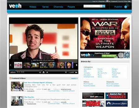 A screenshot of Veoh.com, taken on August 9, 2007. Online video service Veoh said on Thursday it is seeking court protection from any possible copyright-infringement lawsuits from Vivendi's Universal Music Group, the world's largest music label. REUTERS/www.veoh.com