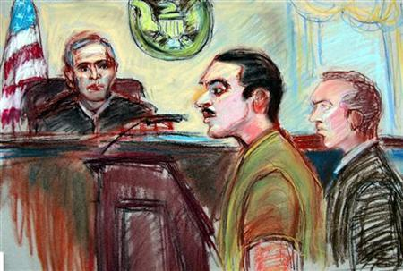A sketch of Jose Padilla (C) appearing at a courthouse in Miami, January 6, 2006. Padilla was the ''star recruit'' for a Florida terrorism support cell that sent the former dirty bomb suspect to an al Qaeda camp to learn how to kill, a prosecutor told jurors in closing arguments on Monday. REUTERS/Jeanne Boggs