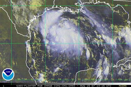 Tropical Storm Erin is seen in this August 15, 2007 satellite image. Tropical Depression 5 strengthened into Tropical Storm Erin in the Gulf of Mexico, threatening oil and gas facilities off the south Texas coast, the U.S. National Hurricane Center said Wednesday. REUTERS/ NOAA