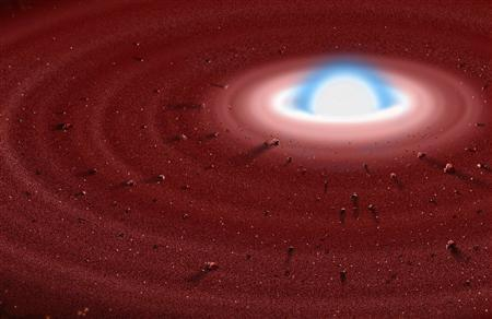 An artist's rendering of the white dwarf GD 362, surrounded by a dust disk, located 150 light-years from Earth, is seen in this undated handout. A light year is about 6 trillion miles (10 trillion km), the distance light travels in a year. Chemical elements observed around a burned-out star known as a white dwarf offer evidence Earth-like planets once orbited it, suggesting that worlds like our own may not be rare in the cosmos, scientists said on August 16, 2007. REUTERS/Jon Lomberg/Gemini Observatory/Handout