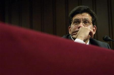 U.S. Attorney General Alberto Gonzales listens to a question as he testifies before the Senate Judiciary Committee in a hearing on 'Oversight of the U.S. Department of Justice' on Capitol Hill in Washington, July 23, 2007. Not since the Watergate scandal more than 30 years ago has the U.S. Justice Department been as politicized as under Gonzales, current and former officials said. REUTERS/Jonathan Ernst