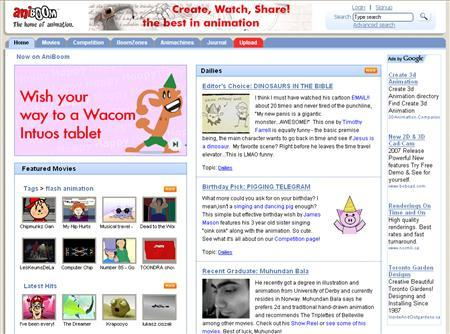 A screenshot of Aniboom.com, taken on August 20, 2007. Aniboom, an Internet home for animators to create and share original clips, is launching its own channel on video site YouTube with the aim of hatching the next animated blockbuster that could rival ''The Simpsons'' or ''South Park.'' REUTERS/www.aniboom.com
