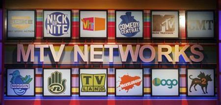 Various logos of the different cable channels from the MTV Networks are pictured at the Cable Television Critics Association press tour in Pasadena, California July 13, 2006. Viacom Inc's MTV Networks said on Tuesday it struck a digital music partnership with online music service RealNetworks Inc and Verizon to compete against Apple Inc's iTunes. REUTERS/Fred Prouser