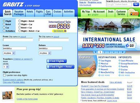 The homepage of online travel company Orbitz on August 24, 2007. REUTERS/orbitz.com