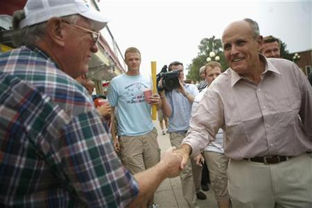 Republican presidential candidate Rudy Giuliani at the Iowa State Fair in Des Moines, August 15, 2007. The presidential election is 14 months away and with as many as 17 candidates now running, U.S. television and radio broadcasters are elated at the prospect of billions more in advertising dollars. REUTERS/Eric Thayer