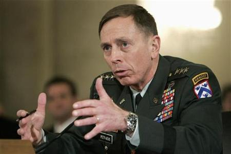 Lieutenant General David Petraeus testifies on Capitol Hill, January, 23, 2007. The U.S. troop surge in Iraq has thrown al Qaeda off balance and led to a reduction in sectarian violence and bombings, the U.S. commander in Iraq was quoted on Friday by an Australian newspaper as saying. REUTERS/Joshua Roberts