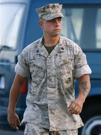 United States Marine Staff Sgt. Frank D. Wuterich arrives for his Article 32 Investigation hearing in the Haditha investigation at Camp Pendleton, August 30, 2007. REUTERS/Mike Blake