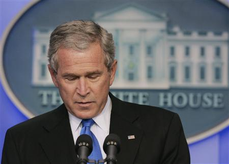 U.S. President George W. Bush speaks in the press briefing room of the White House, August 31, 2007. Bush, facing Democratic pressure to begin pulling U.S. troops from Iraq, urged Congress on Friday to wait for a crucial assessment of his strategy before making any judgments about the war. REUTERS/Larry Downing
