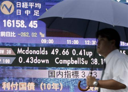 A businessman walks past an electronic board displaying the closing price of the Nikkei share average in Tokyo September 5, 2007. REUTERS/Yuriko Nakao