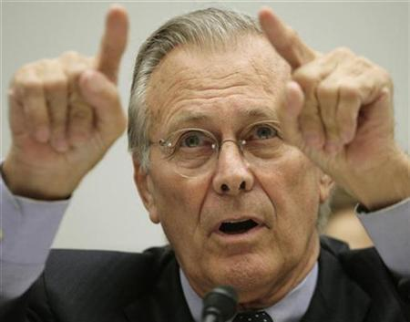 Former U.S. Secretary of Defense Donald Rumsfeld testifies in Washington, August 1, 2007. Rumsfeld has joined the Hoover Institution at Stanford University as a visiting fellow and will serve on a task force focused on issues pertaining to ideology and terror, the California think tank said on Friday. REUTERS/Yuri Gripas