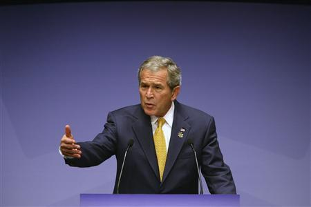 U.S. President George W. Bush speaks on day two of the Asia-Pacific Economic Cooperation (APEC) Business Summit at the Sydney Opera House September 7, 2007. Bush will address a war-weary American public next week to ''lay out a vision'' for the U.S. role in Iraq as he tries to sell his strategy in the wake of a crucial report to Congress. REUTERS/APEC2007 taskforce/Handout