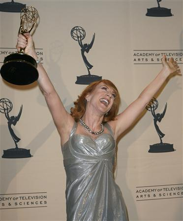 Actress and comedian Kathy Griffin celebrates her Emmy win in ''Outstanding Reality Program'' for ''My Life on the D-List'' during the Primetime Creative Arts Emmy Awards in Los Angeles September 8, 2007. REUTERS/Gus Ruelas