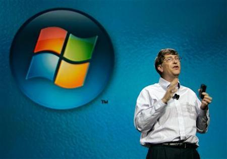 Microsoft Corp. Chairman Bill Gates stands in front of the logo for the new Microsoft operating system Vista during his keynote address at the Consumer Electronics Show in Las Vegas January 4, 2006. Lawyers wonder if the European court deciding the Microsoft antitrust decision next Monday will rely on explicit internal Microsoft memos quoting Gates, first offered as evidence but later withdrawn. REUTERS/Rick Wilking