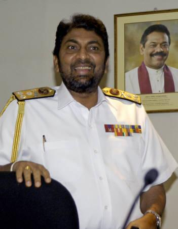 Rear Admiral Wasantha Karangoda, Commander of the Navy, attends a news conference in Colombo, September 11, 2007. Sri Lanka's military claimed a major victory against Tamil Tiger rebels on Tuesday, saying it sank three vessels carrying war equipment including three light aircraft and a bullet-proof car. REUTERS/Buddhika Weerasinghe