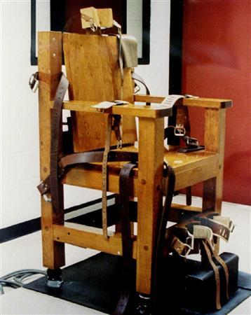 An undated file photo an electric chair. Tennessee used its electric chair for the first time in 47 years on Wednesday to execute a man who killed his three sons and their half-sister. REUTERS/Handout