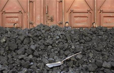 Workers unload coal at a storage site along a railway station in Shenyang, northeast China's Liaoning province September 11, 2007. The health of about 2 billion of the world's poor is being damaged because they lack access to clean energy, like electricity, and face exposure to smoke from open fires, scientists said on Thursday. REUTERS/Stringer