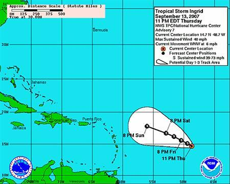 An image released on September 13, 2007 illustrating the projected three-day track of Tropical Storm Ingrid, courtesy of the National Hurricane Center. Ingrid, the ninth Atlantic storm of the year, formed on Thursday in the Atlantic Ocean east of the Caribbean islands, the U.S. National Hurricane Center said. REUTERS/National Hurricane Center/Handout