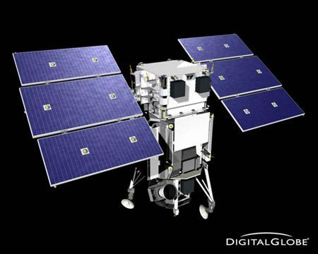 DigitalGlobe's WorldView I satellite is seen in an undated artists rendering. DigitalGlobe, provider of imagery for Google Inc.'s interactive mapping program Google Earth, said a new high-resolution satellite will boost the accuracy of its satellite images and flesh out its archive. REUTERS/DigitalGlobe/Handout