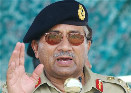 Pakistan's President Pervez Musharraf speaks to flood victims during a visit to the storm-hit town of Turbat, 550 km (344 miles) west of Karachi, in this July 6, 2007 file photo. Musharraf plans to quit as army chief to become a civilian leader, removing a key objection to his proposed re-election in October, a senior ruling party official said on Monday. REUTERS/Stringer/Files