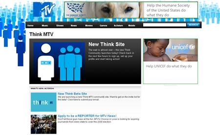 A screenshot of Think.MTV.com, taken on September 20, 2007. Viacom Inc's MTV will launch a new Internet social network sponsored by foundations operated by the founders of Microsoft and AOL to encourage youth activism. REUTERS/Think.MTV.com
