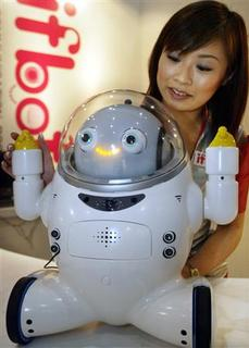 Japan's Business Design Laboratory's robot called ifbot which understands language and emotional tones from human voices, is displayed at a press preview of Robodex 2003, a showcase event of Japan's robotic technologies in Yokohama, south of Tokyo. To match feature JAPAN-AGEING/GADGETS REUTERS/Yuriko Nakao/Files