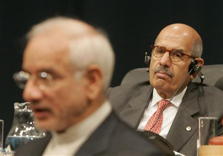 International Atomic Energy Agency (IAEA) Director General Mohamed ElBaradei (R) listens to Iran's Vice President Reza Aghazadeh delivering a speech next during the 51st General Conference of the IAEA in Vienna, September 17, 2007. REUTERS/Herwig Prammer