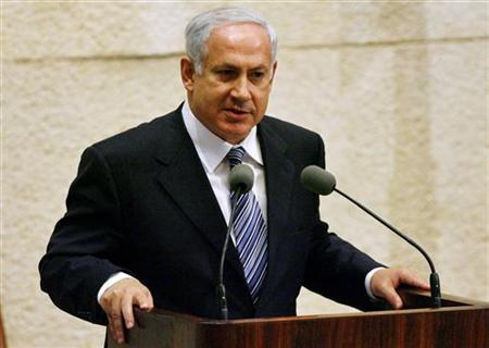 Israeli leader of the opposition Benjamin Netanyahu delivers a speech at the Israeli parliament in Jerusalem May 4, 2006. Netanyahu has broken an official silence over Syria's accusations that Israel bombed its territory, hinting the reported mission was of strategic significance and a success. REUTERS/Eliana Aponte