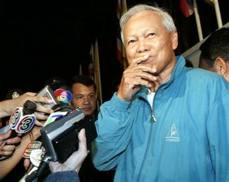 Former Prime Minister Prem Tinsulanonda gestures during a news conference in Bangkok, March 15, 2006. Thailand is seeking to block clips on video-sharing Web site YouTube, accusing Prem, the chief royal adviser, of being the mastermind of the bloodless coup last year, a top Justice Ministry official said on Friday. REUTERS/Chaiwat Subprasom