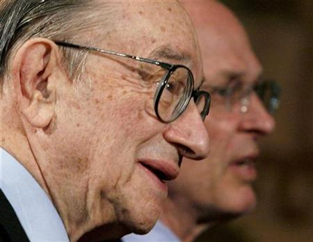 Former Chairman of the Federal Reserve Greenspan in Washington March 13, 2007. A big overhang of property will bring U.S. house prices down further, but it is too early to say if the economy will plunge into recession, Greenspan said on Friday. REUTERS/Jim Young