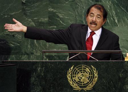 Nicaragua's President Daniel Ortega addresses the 62nd United Nations General Assembly at the U.N. headquarters in New York, September 25, 2007. REUTERS/Mike Segar
