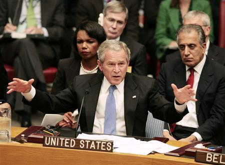 U.S. President George W. Bush talks during a U.N. Security Council meeting on Africa at the UN in New York, September 25, 2007. REUTERS/Larry Downing (