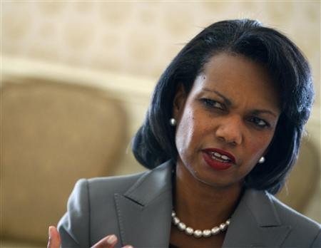 Secretary of State Condoleezza Rice talks during an interview with Reuters in New York, September 24, 2007. REUTERS/Brendan McDermid