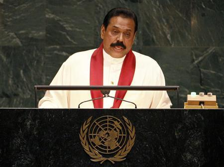 Sri Lanka's President Mahinda Rajapaksa addresses the 62nd United Nations General Assembly at the U.N. headquarters in New York, September 25, 2007. REUTERS/Mike Segar