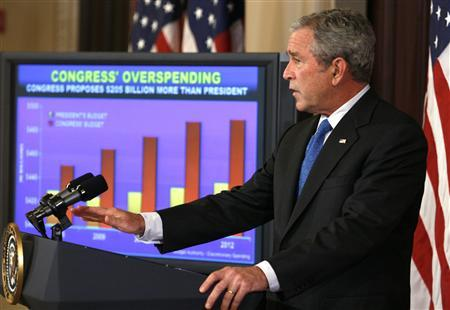 U.S. President George W. Bush makes a statement on the budget at the Eisenhower Executive Office Buildings in Washington September 24, 2007. REUTERS/Kevin Lamarque