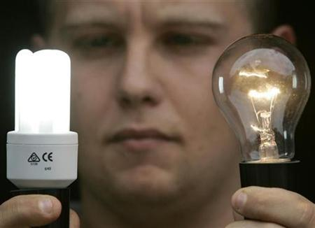 Dave Ehret poses with an old-style incandescent light bulb (R) and a new energy-saving compact florescent bulb (L) at a warehouse in Sydney February 27, 2007. China, which makes 70 percent of the world's lightbulbs, has agreed to phase out incandescent bulbs in favor of more energy-efficient ones, part of a push by a leading world environmental funding agency. REUTERS/Will Burgess