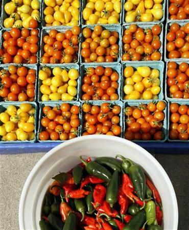 Cherry tomatoes and hot peppers are displayed for sale at the Food Project's Farmer's Market in the Boston neighborhood of Dorchester, Massachusetts August 14, 2007. A Thai restaurant's potent homemade chili sauce caused a chemical scare in central London, with police shutting streets and firefighters forced to smash down the door. REUTERS/Brian Snyder
