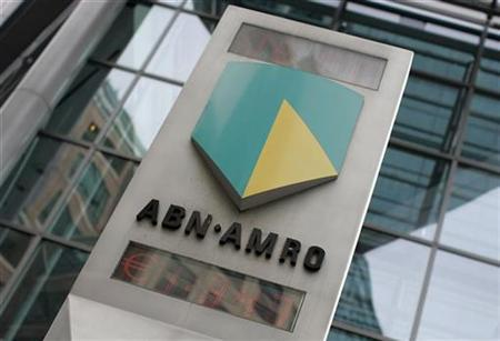 The ABN Amro logo is seen in central London May 29, 2007. An intense takeover battle for the Netherlands' biggest bank ABN AMRO neared its conclusion on Friday with a trio of banks led by the Royal Bank of Scotland seen as the likely winner. REUTERS/Stephen Hird