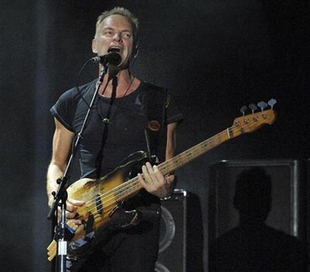 Sting of the Police performs at Virgin Festival, at Pimlico Race Course, in Baltimore, Maryland, August 4, 2007. Sting topped Blender's list of the worst lyricists, thanks to lines that betray ''mountainous pomposity (and) cloying spirituality,'' the music magazine said. REUTERS/Bill Auth