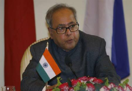 Foreign Minister Pranab Mukherjee speaks during a joint news conference in New Delhi February 14, 2007. Appearing to ignore months of political turmoil in Myanmar, Mukherjee has come under fire for repeating word-for-word the same speech on the need for closer ties he first delivered four months ago. REUTERS/B Mathur/Files